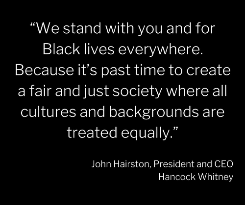 We stand with you and for Black lives everywhere. Because its past time to create a fair and just society where all cultures and backgrounds are treated equally.