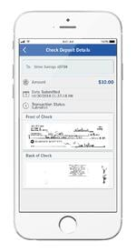 mobile device showing mobile/remote check depositing