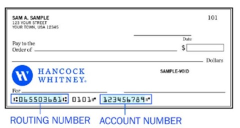 Hancock Whitney Checking Account Routing Information