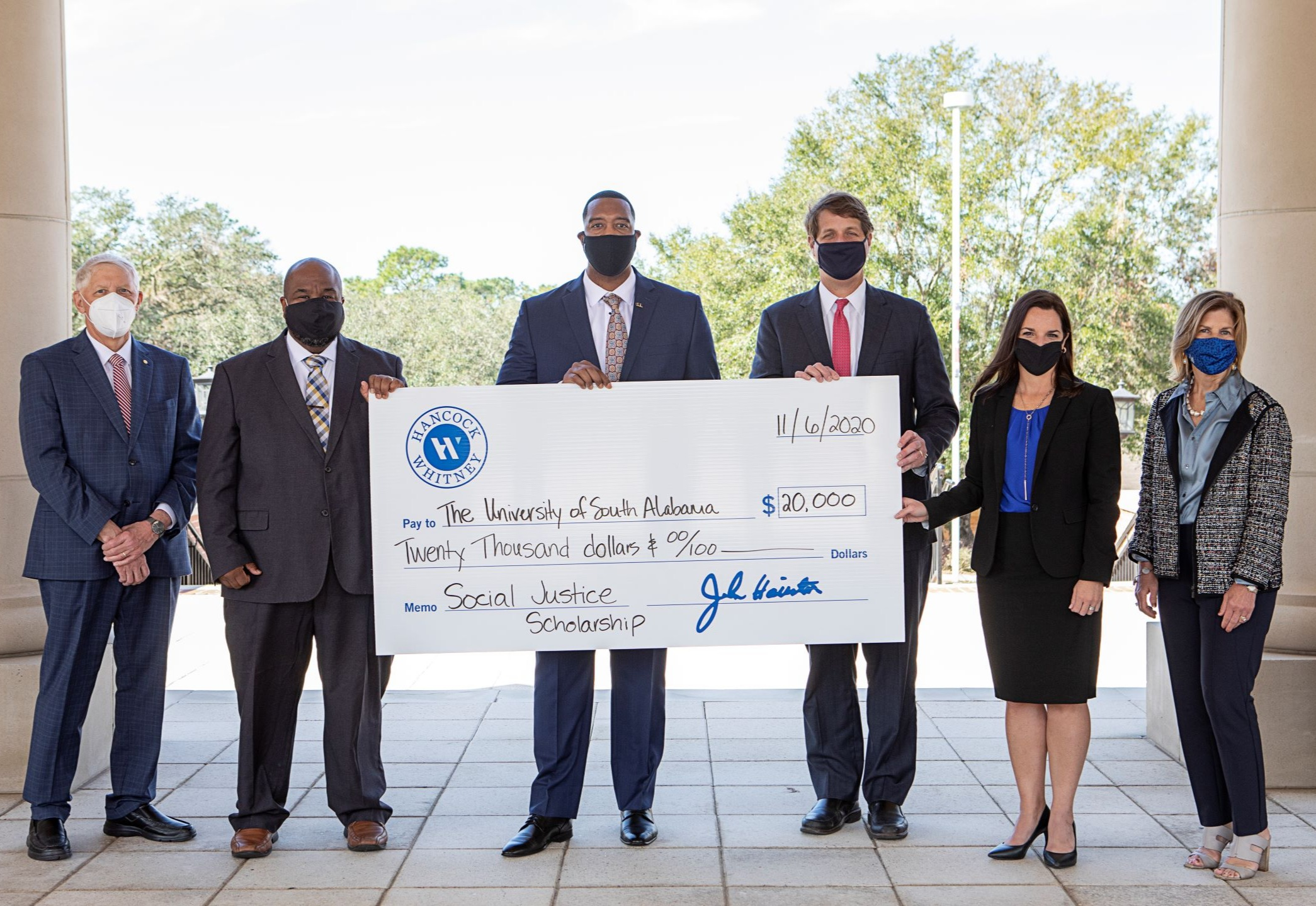 Hancock Whitney Pledges $20K to USA and 100 Black Men of Greater Mobile Social Justice and Perseverance Scholarship